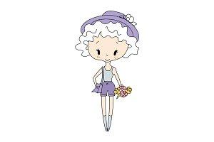 Illustration of vector little girl doll