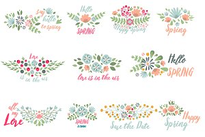 Spring typographic flower vector