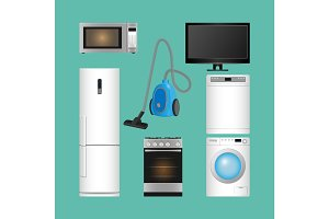 Set of household appliances. Modern kitchen devices.