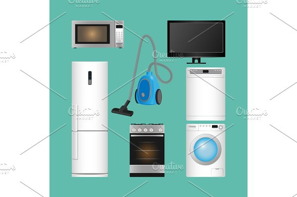 Set Of Household Appliances Modern Kitchen Devices