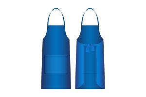 Apron isolated on white. Blue outer protective garment