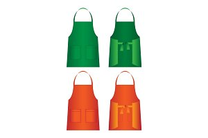 Set of aprons isolated. Uniform part for several work categories