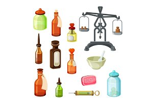 Apothecary vector set. Vintage medicine bottles, pharmaceutical scales