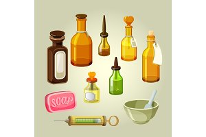Empty bottles, flasks, potions and drops vector set. Laboratory medicaments