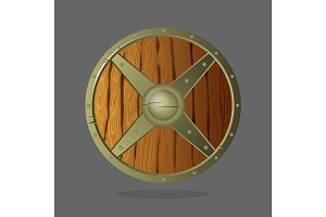 Round armor shield made of wood and metal. Vector war protective element.