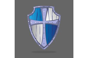 Wooden armor shield, blue and white colors with crest emblem
