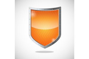 Blank orange gold shield in metallic frame isolated on white