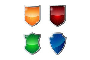 Set of shields protection, web security, antivirus logotype concept.