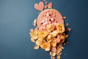 heart waffles and rose petals