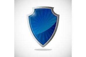 Glossy shield protection icon in blue and silver colors.