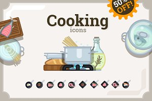 Cooking icons set (64 + 60)