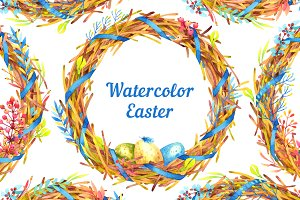 Watercolor Easter Wreaths