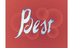 Best lettering made of ice on bokeh background. Vector illustration EPS10