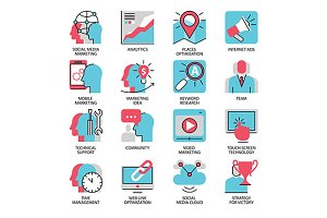 seo marketing flat line icons