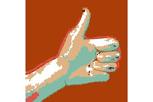 Cartoon dotted hand thumbs up. EPS10 vector buisness success like illustration