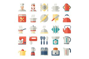 kitchen flat design icons