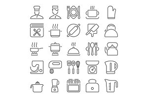 cooking line icons