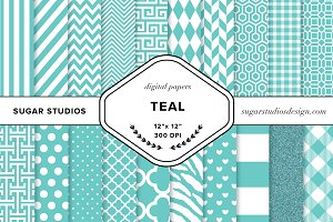 Teal Digital Paper Set