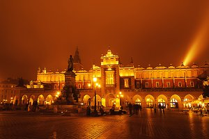 Market square in Kracow at night