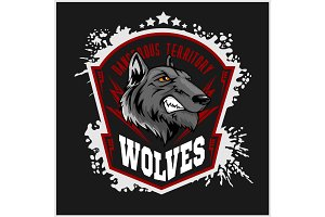 Wolves sports mascot. Howling wolf.