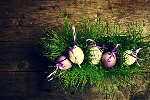 Spring or easter concept, eggs,above