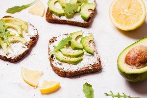 Cream cheese and avocado sandwiche