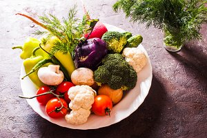 Many vegetables in plate