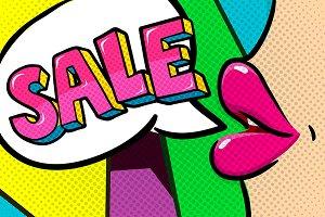 Sale message in speech bubble