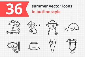 36 summer vector icons