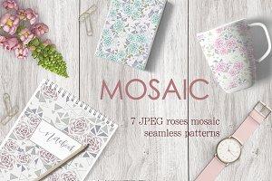 Set 7 Mosaic Seamless Floral Pattern
