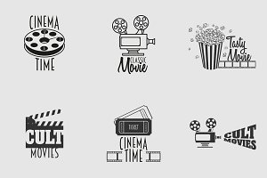 Set of cinema vector logo or symbols and retro emblems