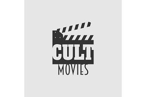 Cult movies vector logo, symbol