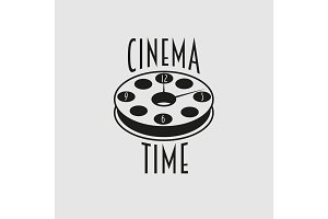 cinema time vector symbol or emblem