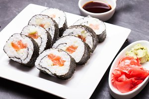 Sushi rolls close up