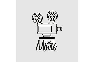 Classic movie vector logo, symbol