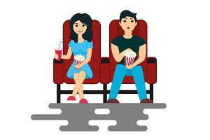 Couple are watching movie
