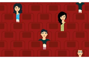 cinema seamless pattern with people watching movie