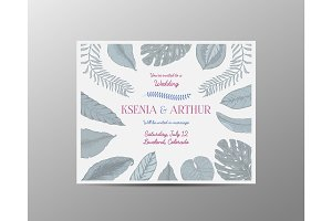 wedding invitation card, vintage engraved template for marriage, tropical leaves background groom and bride, hand drawn plants