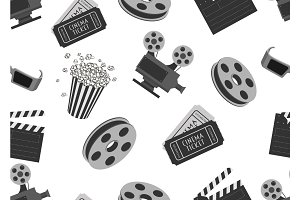 Seamless pattern with movie objects