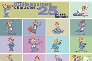 Vector set of businessman character