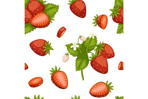 Fruits strawberries seamless patterns vector background