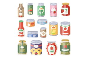 Collection of various tins canned goods food metal container grocery store and product storage aluminum flat label conserve vector illustration.