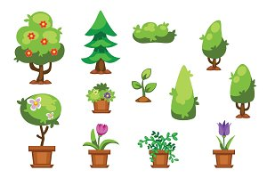 Cartoon garden green tree vector illustration.