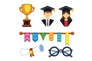 Graduation man and woman silhouette uniform avatar vector illustration. Student education college success character with hat gown flat achievement. Knowledge person.