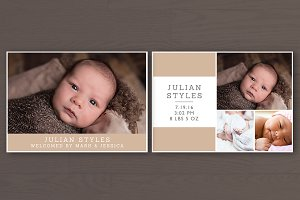 Birth Announcement Card PSD Template