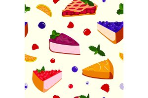 Homemade organic pie dessert vector illustration seamless pattern