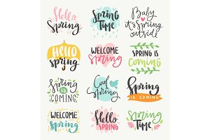Spring time lettering greeting cards set special spring sale typography poster in gold black and white colors vector illustration