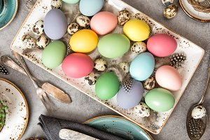 Easter eggs table decoration