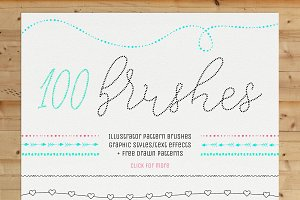 100 Pattern Brushes+9 Graphic Styles