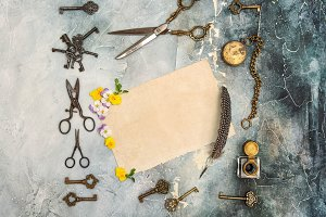 Vintage style flat lay old goods